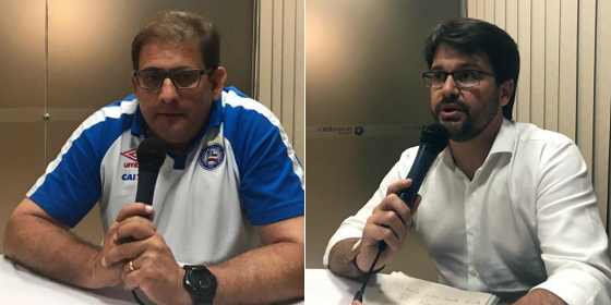 Guto Ferreira e Guilherme Bellintani, técnico e presidente do Bahia, respectivamente, em entrevista ao 45 minutos. Fotos: Rafael Brasileiro/45 Minutos