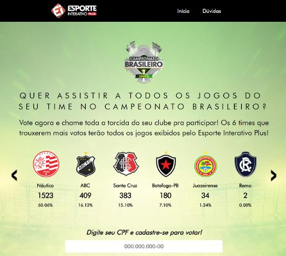 Votação sobre a transmissão dos jogos na Série C de 2018. Crédito: Esporte Interativo/reprodução