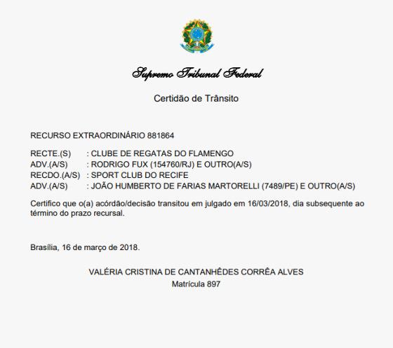 Certidão do trânsito em julgado do caso do Brasileiro de 1987 no STF