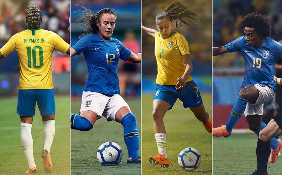Uniformes da Seleção Brasileira em 2018. Crédito: CBF/site oficial