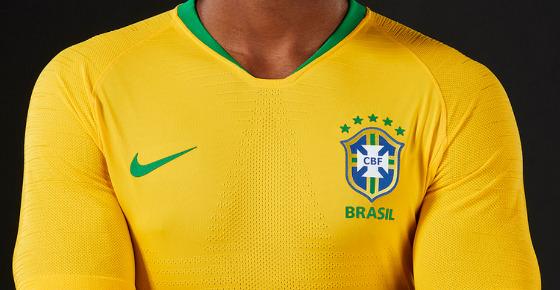 Uniforme da Seleção Brasileira em 2018. Crédito: CBF/site oficial