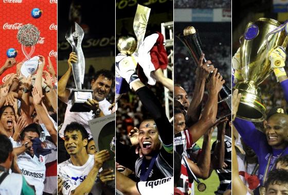 Os títulos pernambucanos do Santa Cruz em 2011, 2012, 2013, 2015 e 2016. Fotos: Superesportes/Diario de Pernambuco
