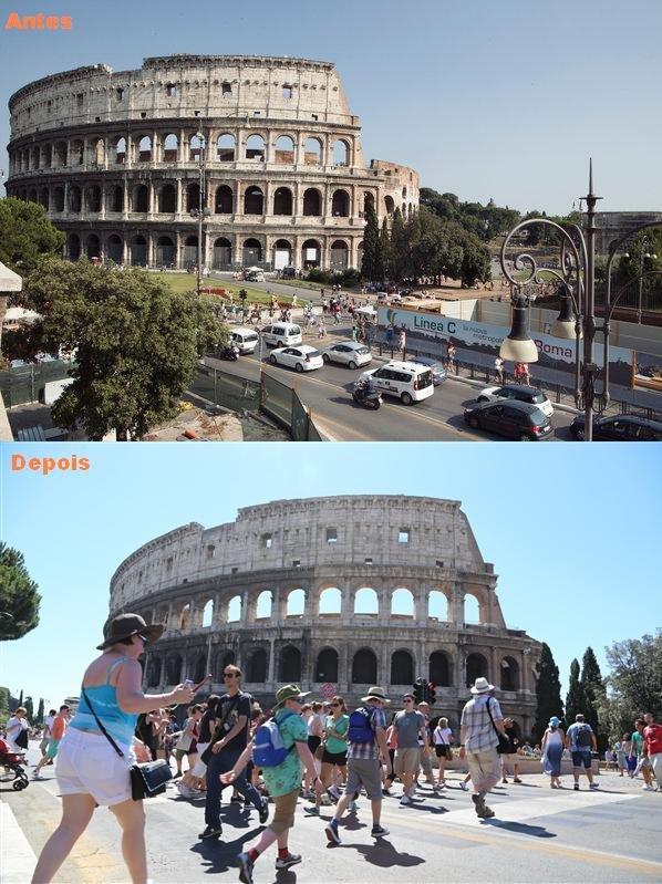 Roma, Coliseu deixa de ser rotatória e abre espaço para o pedestre - Foto - reprodução internet