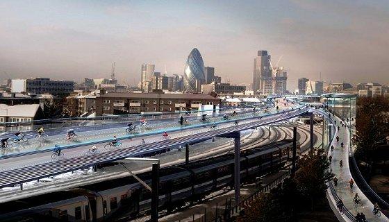 Projeto de arquitetura de ciclovias suspensas em Londres - créditos: Foster and Partners