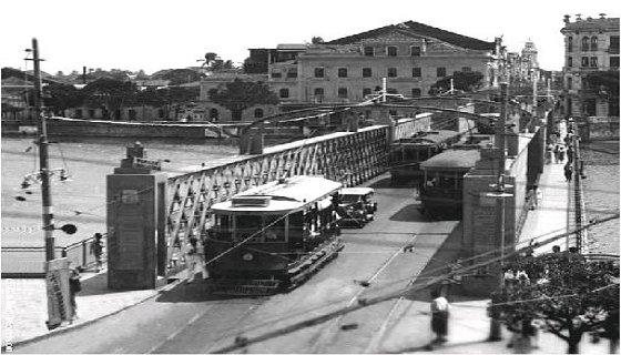 Os bondes elétricos nas ruas do Recife na década de 20 _ Foto Reprodução/internet