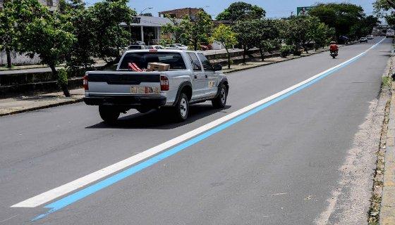 Faixa azul para o ônibus no Recife - Foto - CTTU/Divulgação