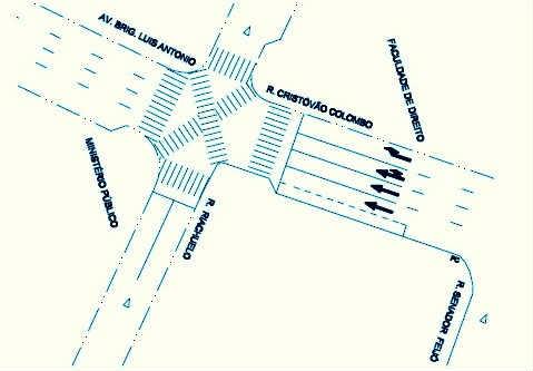 Cruzamento com faixa diagonal em São Paulo - Ilustração/Divulgação CET