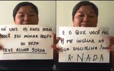 Mulher surda grava vídeo como forma de resposta a professora que criticou tema da redação do Enem