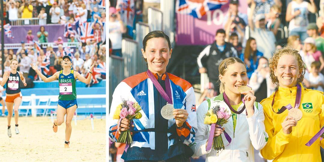 Yane ao cruzar a linha de chegada e no pódio: segunda olimpíada, primeira medalha - Foto: John Macdougall/AFP