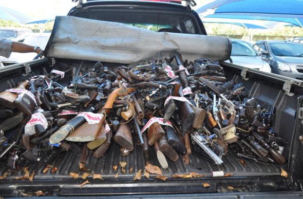 Armas entregues à PF. Foto: Polícia Federal/Divulgação