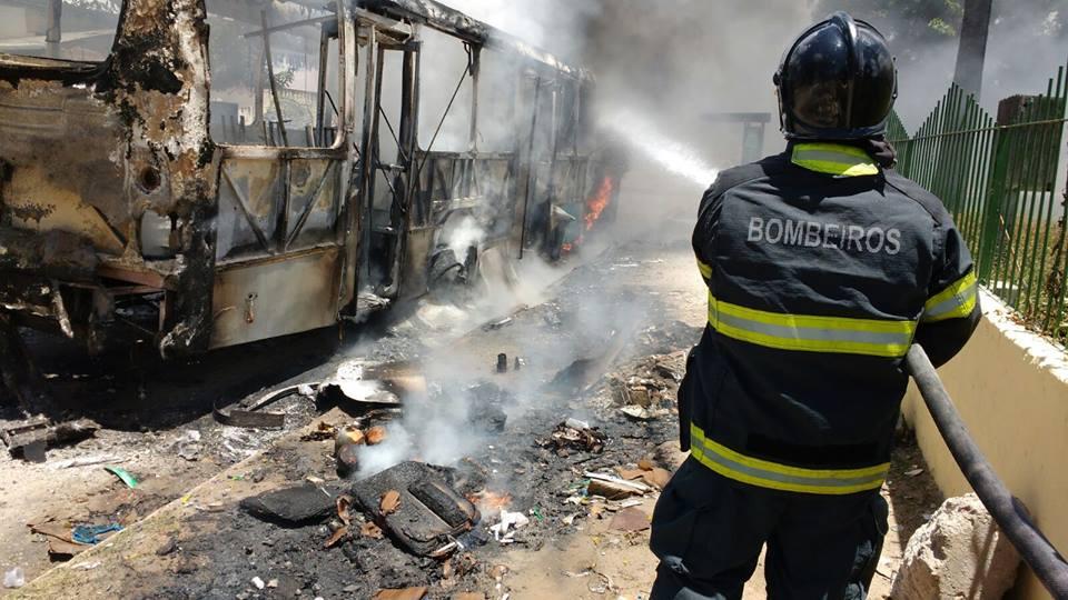 Bombeiros apagaram as chamas nos coletivos; Foto: Corpo de Bombeiros/Divulgação