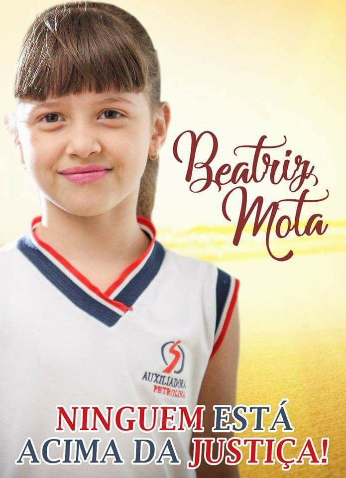 Beatriz Mota tinha sete anos quando foi morta. Foto: Facebook/Reprodução